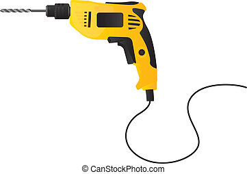 Yellow and black drill on white background, Vector illustration