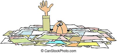 This illustration depicts a man with just his head and one arm sticking out of a stack of papers.