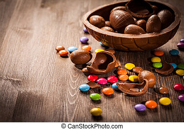 Easter chocolate background