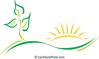 Ecology theme logo template with leaf and sun