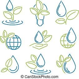 Ecology symbol set. Eco-icons.