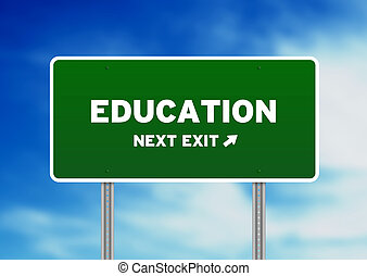 High resolution graphic of a education street sign on Cloud Background.