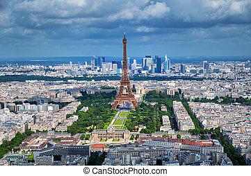 Aerial view of Paris.