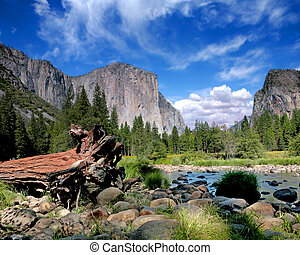 El Capitan View in Yosemite Nation Park on a Beautiful Sunny Day
