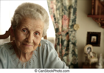 Elderly Woman With Bright Eyes Indoors