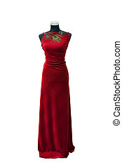Elegant red dress on a mannequin isolated on white