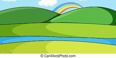 Empty park landscape scene with rainbow behide the mountain
