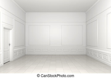 3d scene of an empty white classic room