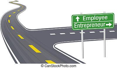 Change career directions employee entrepreneur highway direction sign