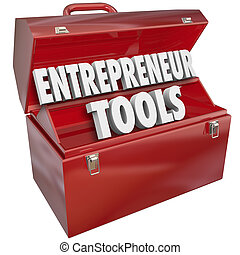 Entrepreneur Tools words in a red metal toolbox to illustrate help, information, tips and advice for growing your business ownership skills and knowledge for success