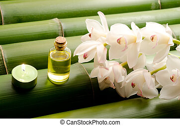 Essential oil and white orchid