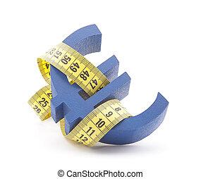 Euro symbol with measuring tape