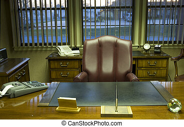 Office desk and furniture in executive room