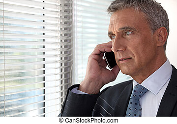 Executive phone in front of window