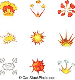 Explode animation effect icons set, cartoon style