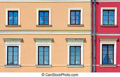 Facade of a building with windows