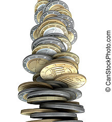 A stack of Euro coin tender becoming unstable and teetering on collapse