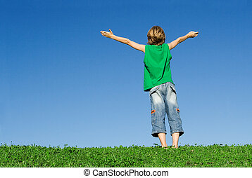 faith, happy child with arms raised