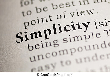 Fake Dictionary, Dictionary definition of the word Simplicity.