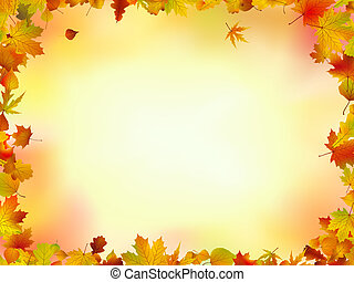 Fall leaves frame with copyspace background. EPS 8