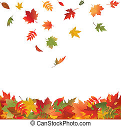 Autumn Falling Leaves, Isolated On White Background, Vector Illustration