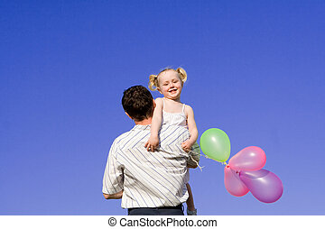 family, happy father and child