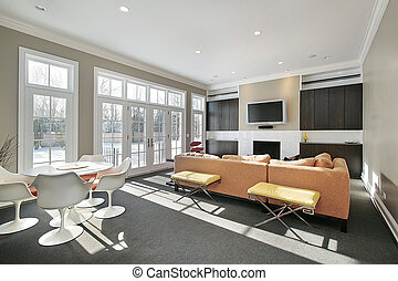 Family room with wall of windows