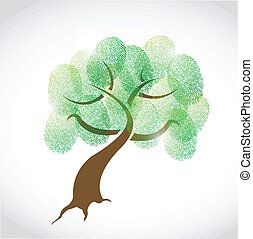 family tree fingerprint illustration design