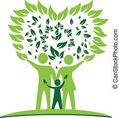 family tree heart leafs logo