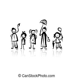 Family walking, sketch for your design