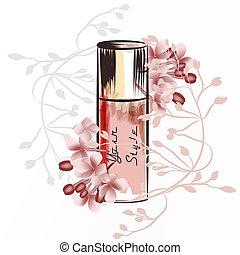 Fashion illustration with perfume bottle