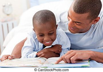 Father reading with his son
