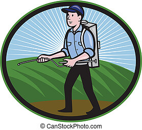 Illustration of a worker with fertilizer sprayer pump spraying set inside oval done in cartoon style.