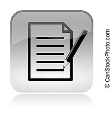 Fill form and document white, transparent and glossy web interface icon with reflection