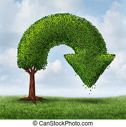 Financial crisis and growth problems as a business and finance concept for investment loss and downward growing trend as a tree shaped as an arrow pointing down as a symbol of recession or market crash.