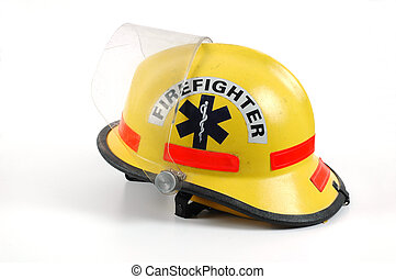 A yellow firefighter's helmet set against a white background.