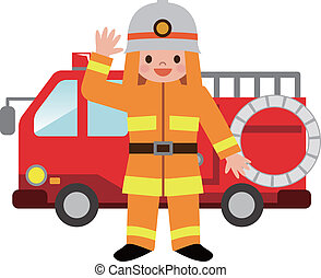 Fire truck and firefighters childre