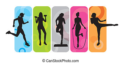 Sport silhouettes on an abstract background