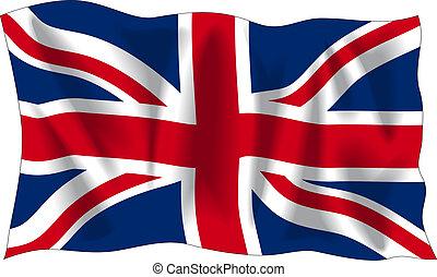 Waving flag of United Kingdom isolated on white