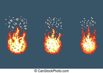 Flame with smoke animation frames in pixel art style