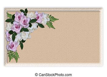 Floral Border Wedding invitation roses