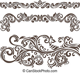 Hand-drawn floral design elements and headers