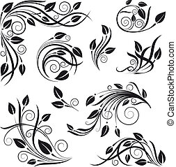 floral design elements vector set