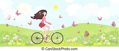 floral panorama with happy girl riding bicycle