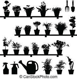 A large set of flowers and plants in vase or pot. This is in silhouette version.