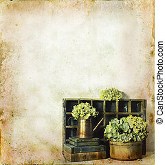 Flowers and Books on a Grunge Background