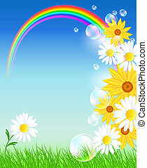 Flowers with green grass and rainbow