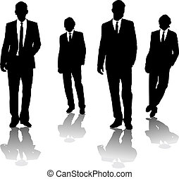 Four business men drawn in black silhouette in a gangster style