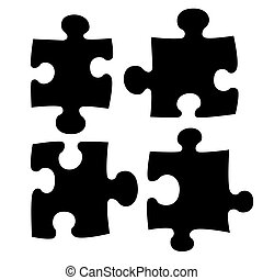 Illustration of four puzzle pieces shape set