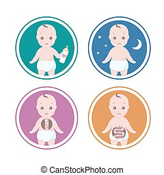 Vector set of four illustrations with reasons why a babies cry like he is hungry, has colic or need sleep